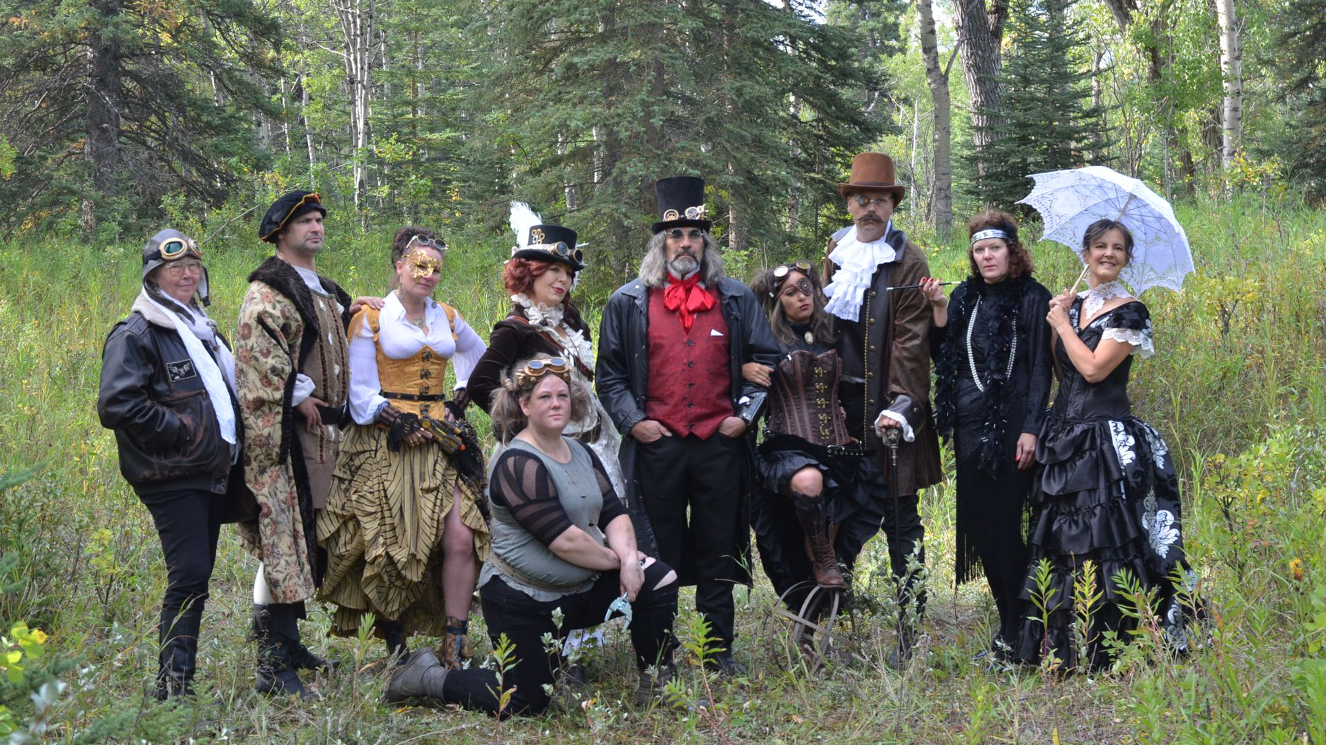 Group of SteamPunks in the forest at Time Island 2019